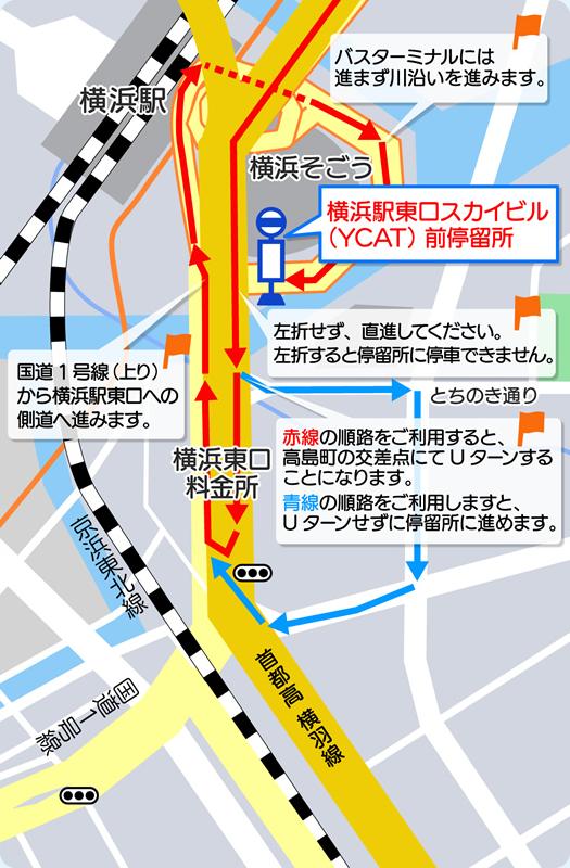 地図:東京方面からの進入方法