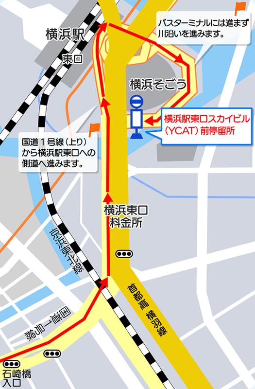 地図:戸塚方面からの進入方法