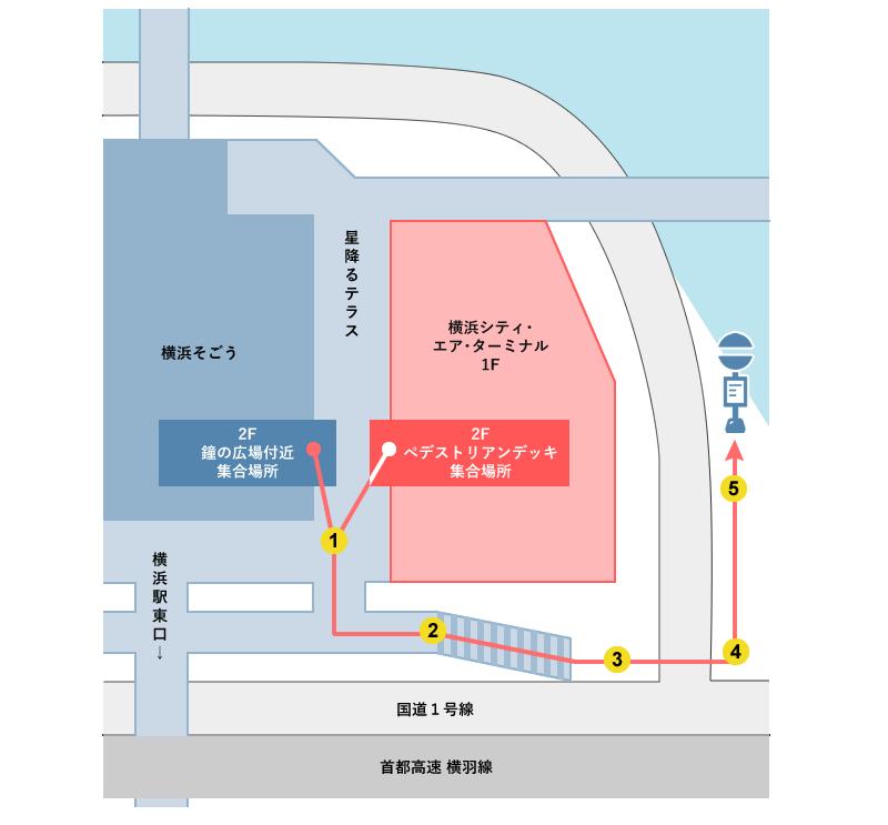 各集合場所から横浜駅東口スカイビル(YCAT)前停留所へのアクセス